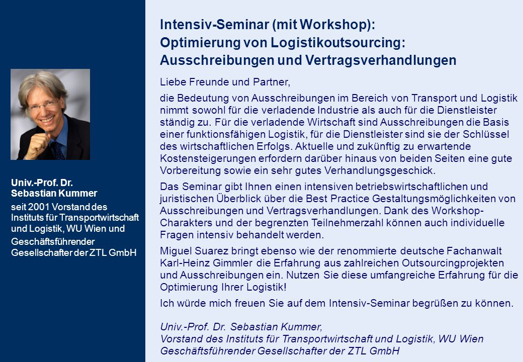 Intensiv-Seminar (mit Workshop): Optimierung von Logistikoutsourcing: Ausschreibungen und Vertragsverhandlungen