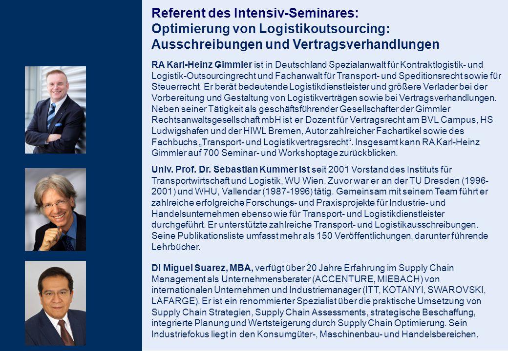 Referent des Intensiv-Seminares: Optimierung von Logistikoutsourcing: Ausschreibungen und Vertragsverhandlungen