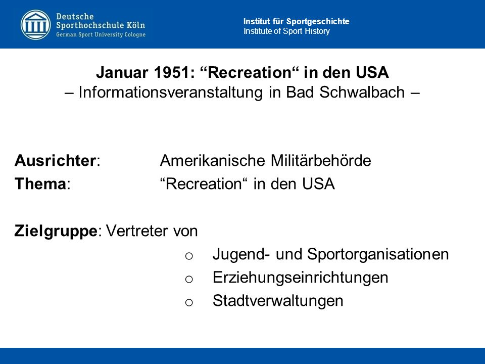 Januar 1951: Recreation in den USA