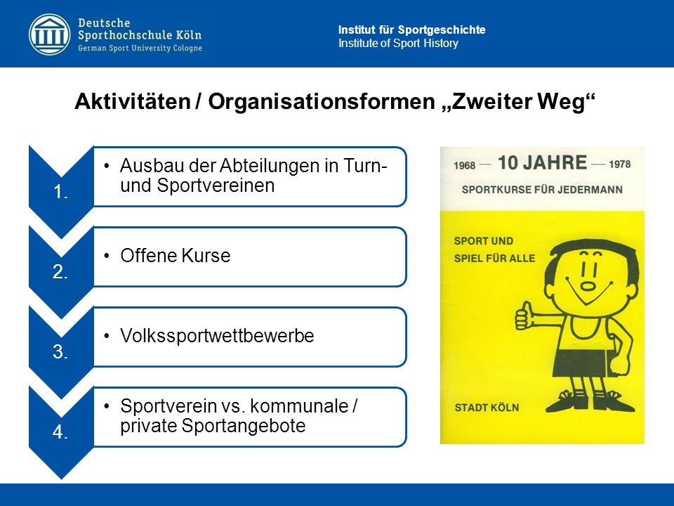 """Aktivitäten / Organisationsformen """"Zweiter Weg"""