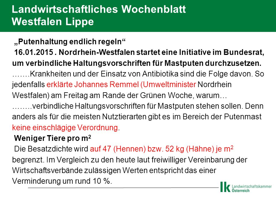 Landwirtschaftliches Wochenblatt Westfalen Lippe