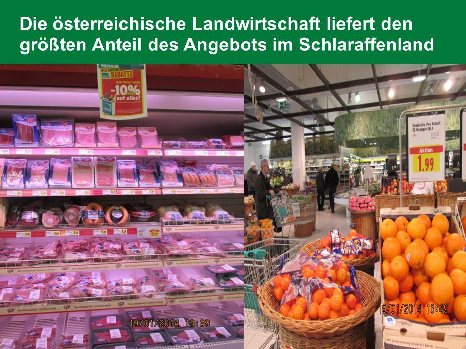 Die österreichische Landwirtschaft liefert den größten Anteil des Angebots im Schlaraffenland