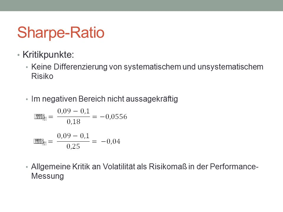Sharpe-Ratio Kritikpunkte: