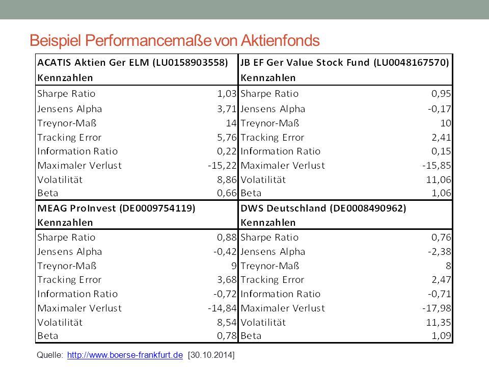 Beispiel Performancemaße von Aktienfonds