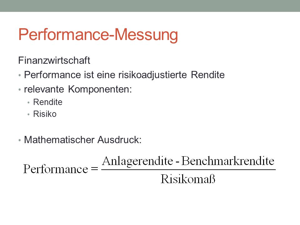 Performance-Messung Finanzwirtschaft