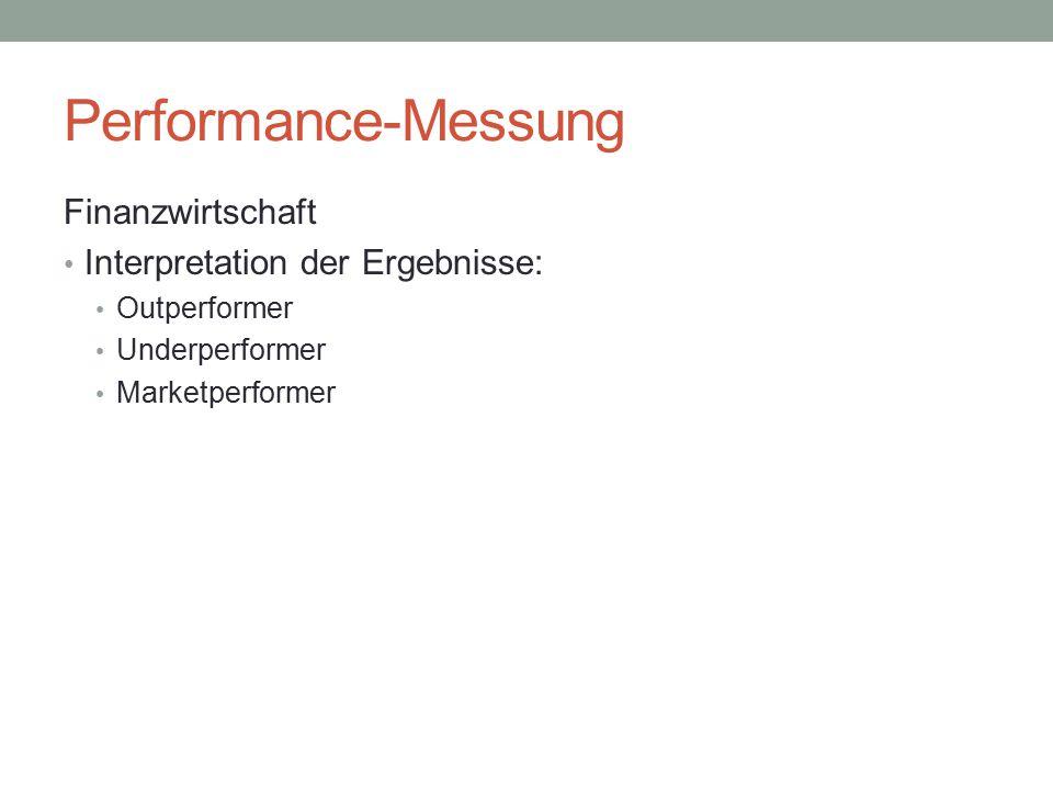 Performance-Messung Finanzwirtschaft Interpretation der Ergebnisse: