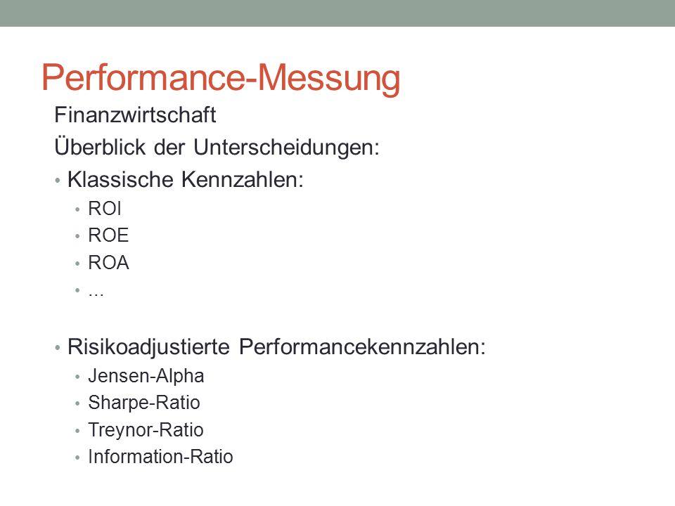 Performance-Messung Finanzwirtschaft Überblick der Unterscheidungen: