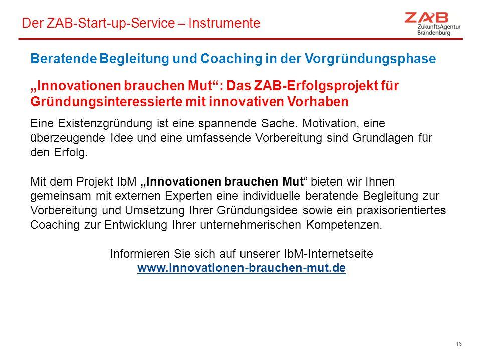 Der ZAB-Start-up-Service – Instrumente 660-1666