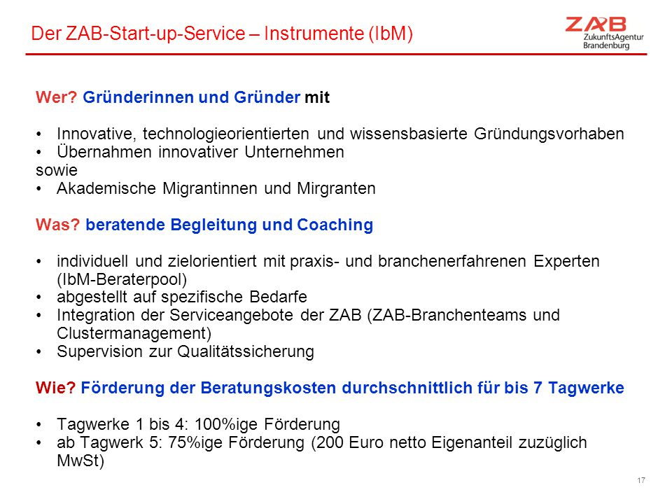 Der ZAB-Start-up-Service – Instrumente (IbM)