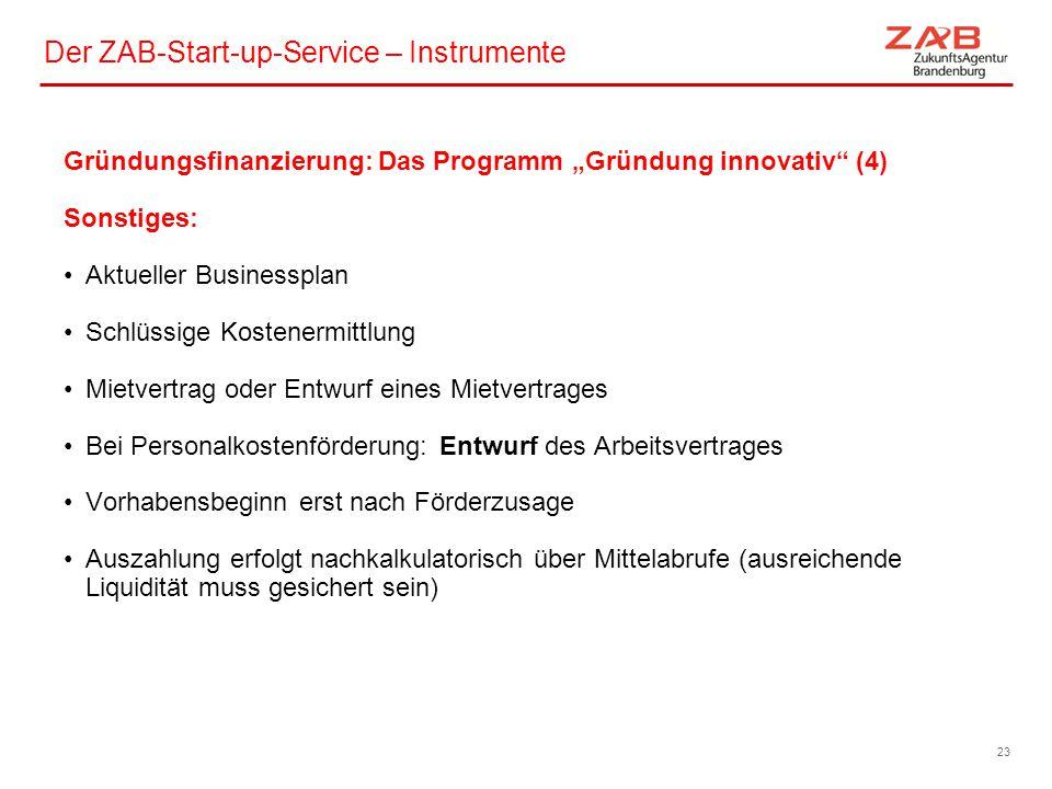 Der ZAB-Start-up-Service – Instrumente