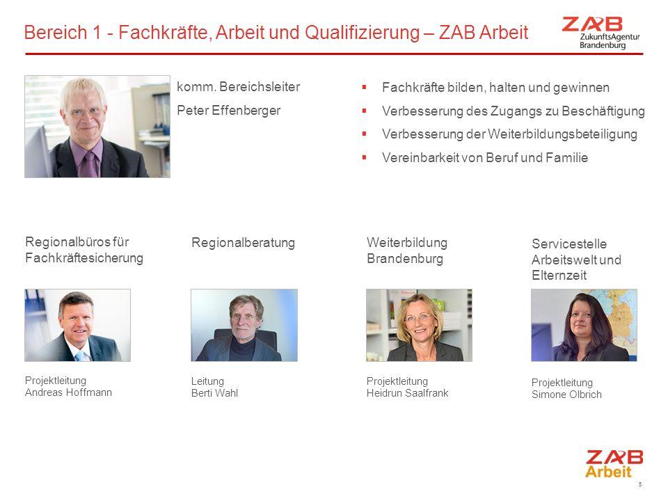 Bereich 1 - Fachkräfte, Arbeit und Qualifizierung – ZAB Arbeit