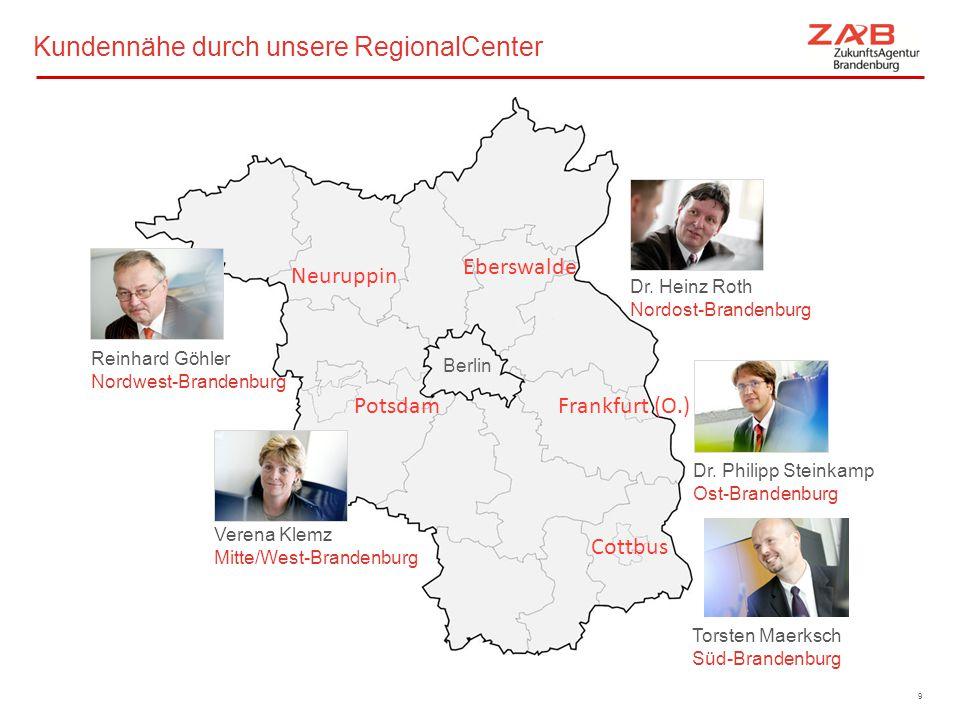 Kundennähe durch unsere RegionalCenter Eberswalde Neuruppin Potsdam