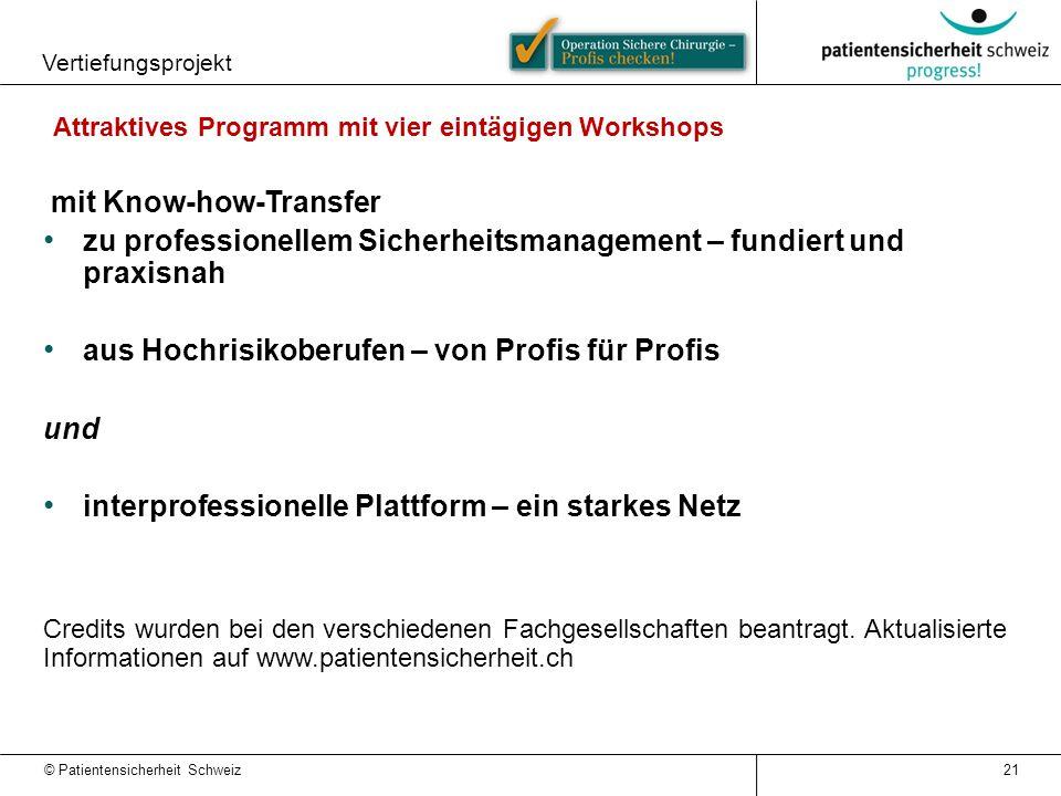 Attraktives Programm mit vier eintägigen Workshops