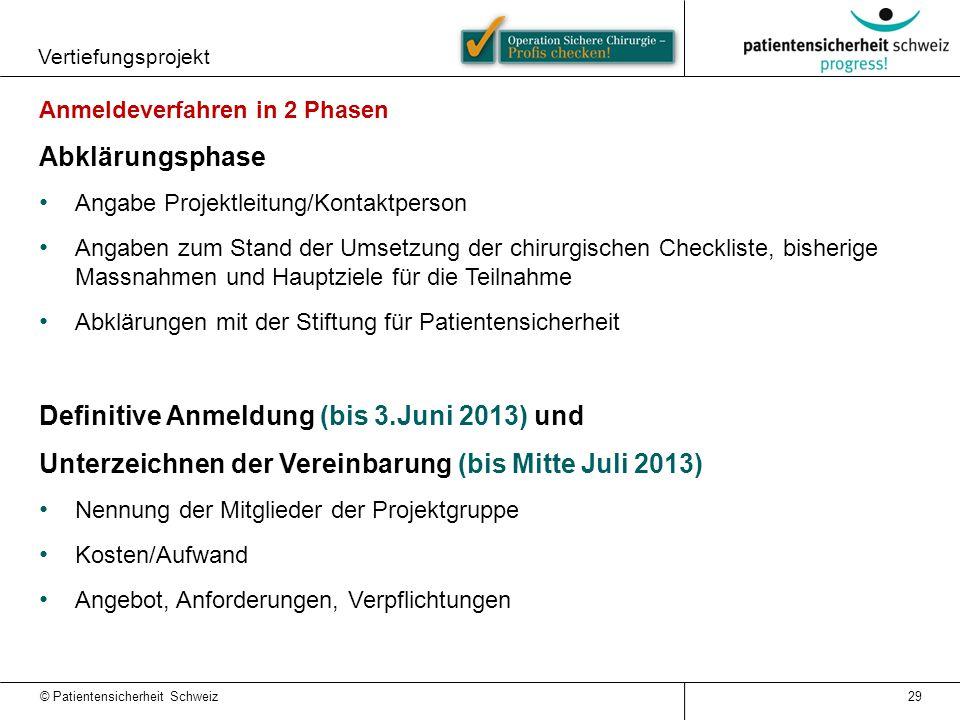 Definitive Anmeldung (bis 3.Juni 2013) und