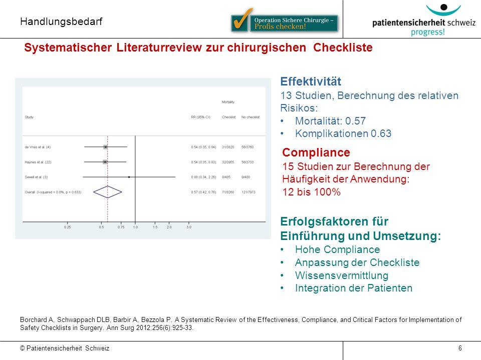 Systematischer Literaturreview zur chirurgischen Checkliste