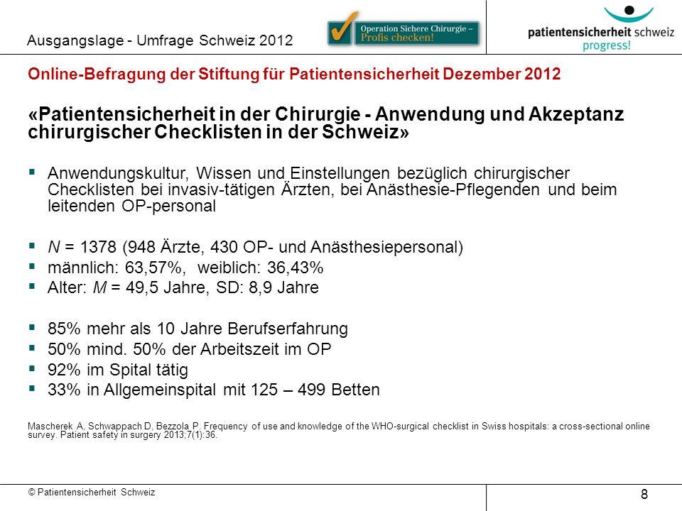 Ausgangslage - Umfrage Schweiz 2012