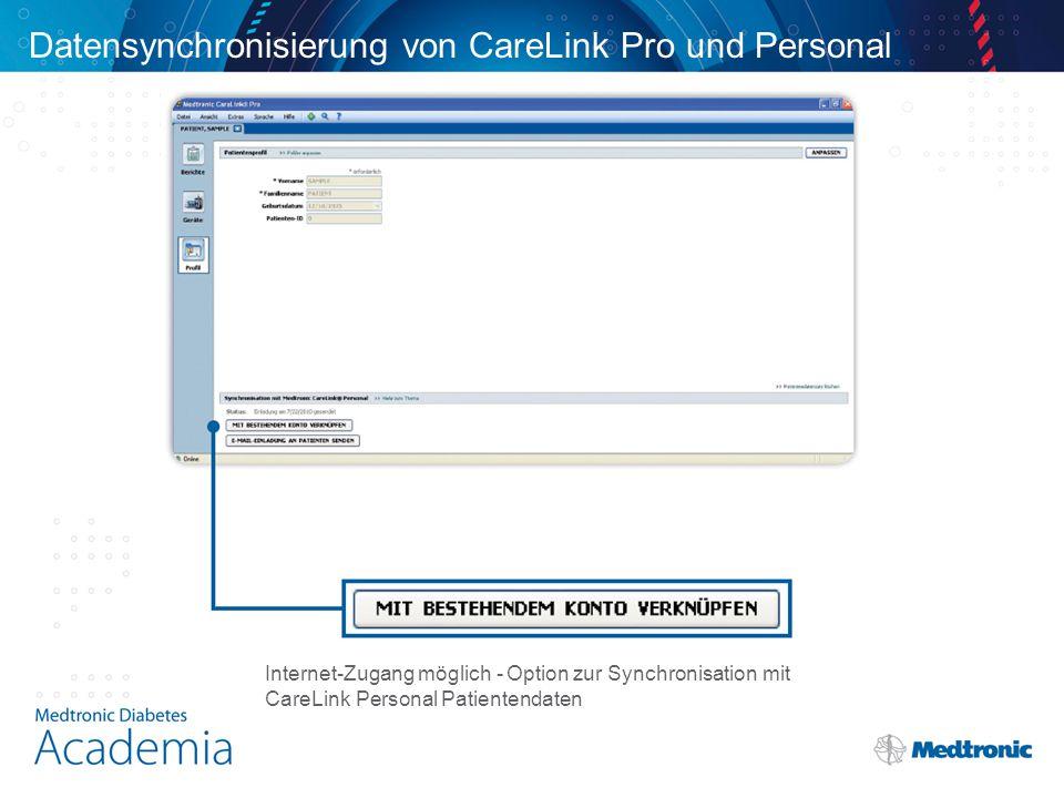 Datensynchronisierung von CareLink Pro und Personal