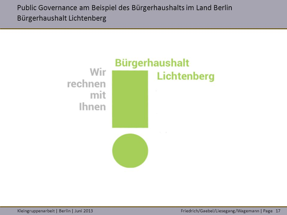 Public Governance am Beispiel des Bürgerhaushalts im Land Berlin Bürgerhaushalt Lichtenberg