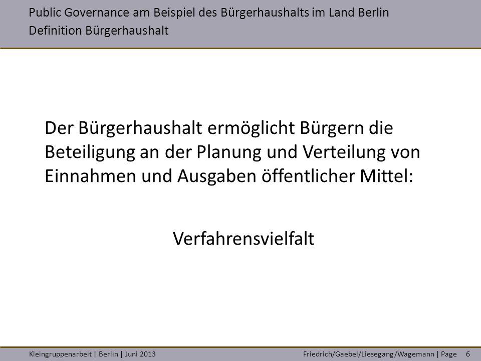VAK Berlin / Studiengang A 22 Steuerungsinstrumente in der öffentlichen Verwaltung
