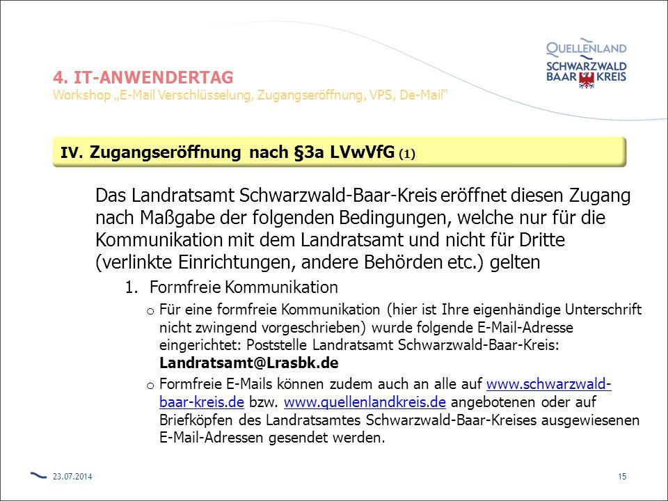 Zugangseröffnung nach §3a LVwVfG (1)