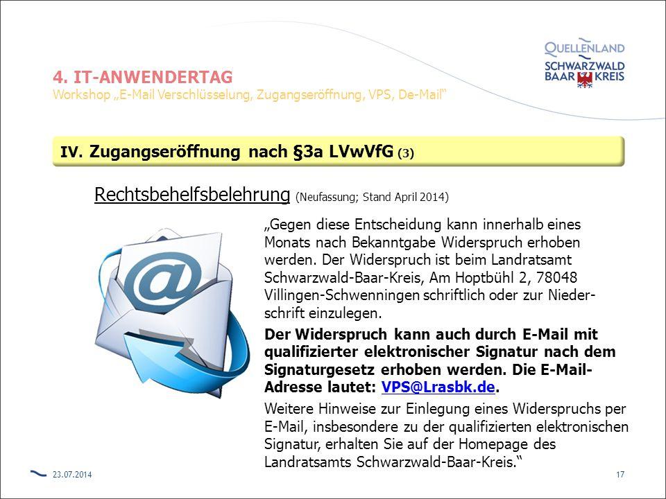 Rechtsbehelfsbelehrung (Neufassung; Stand April 2014)