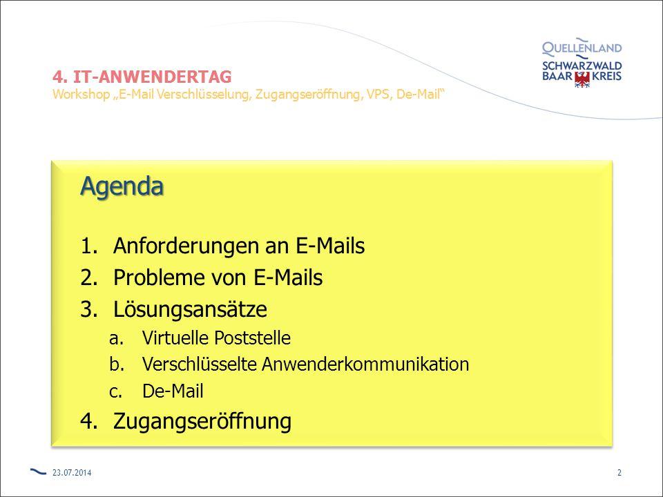 Agenda Anforderungen an E-Mails Probleme von E-Mails Lösungsansätze