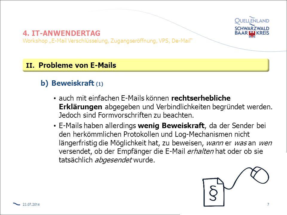 Probleme von E-Mails Beweiskraft (1)