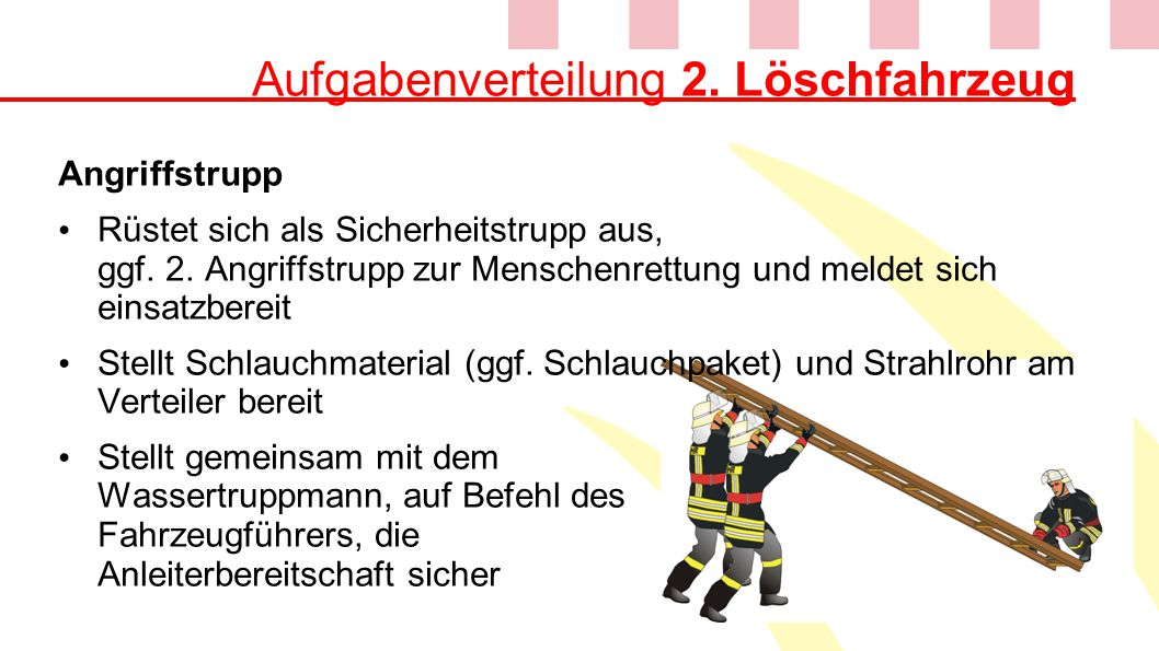 Aufgabenverteilung 2. Löschfahrzeug