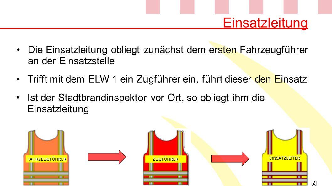 Einsatzleitung Die Einsatzleitung obliegt zunächst dem ersten Fahrzeugführer an der Einsatzstelle.