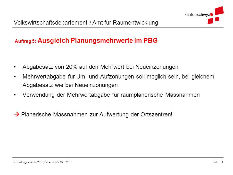 Auftrag 5: Ausgleich Planungsmehrwerte im PBG