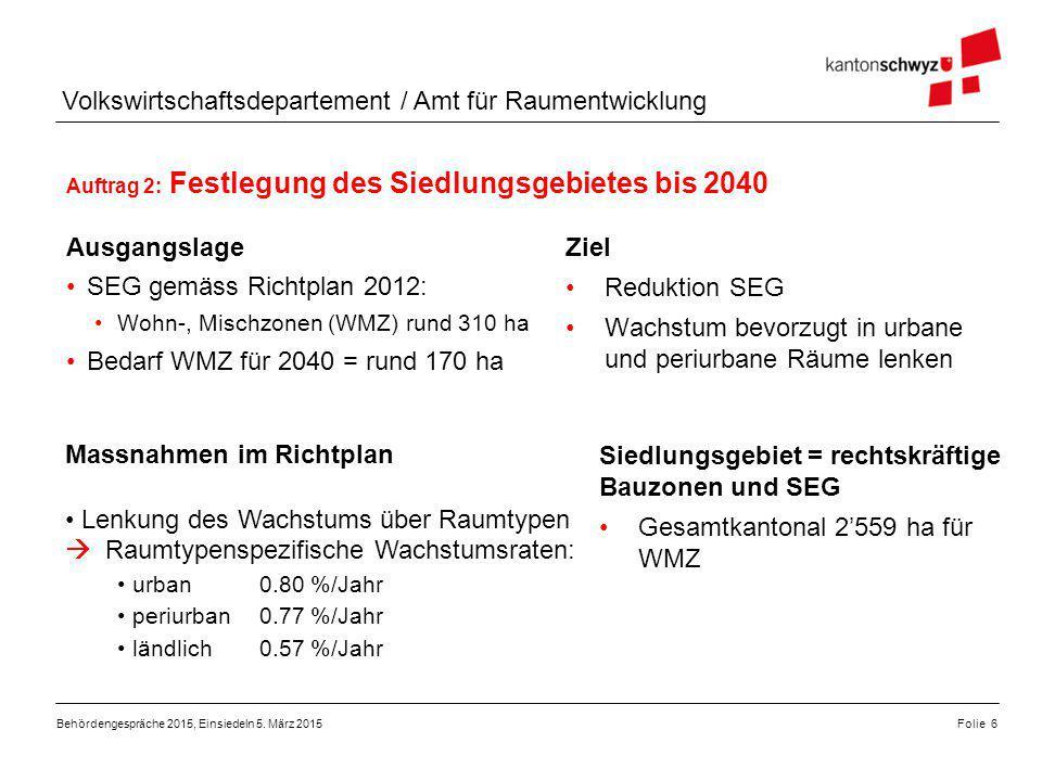 Auftrag 2: Festlegung des Siedlungsgebietes bis 2040