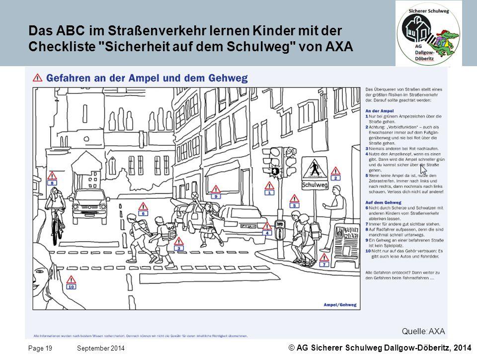 Das ABC im Straßenverkehr lernen Kinder mit der Checkliste Sicherheit auf dem Schulweg von AXA