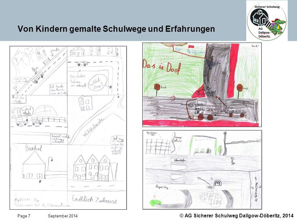 Von Kindern gemalte Schulwege und Erfahrungen