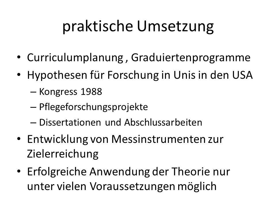 praktische Umsetzung Curriculumplanung , Graduiertenprogramme