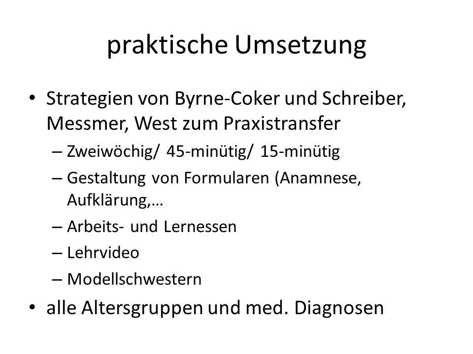 praktische Umsetzung Strategien von Byrne-Coker und Schreiber, Messmer, West zum Praxistransfer. Zweiwöchig/ 45-minütig/ 15-minütig.