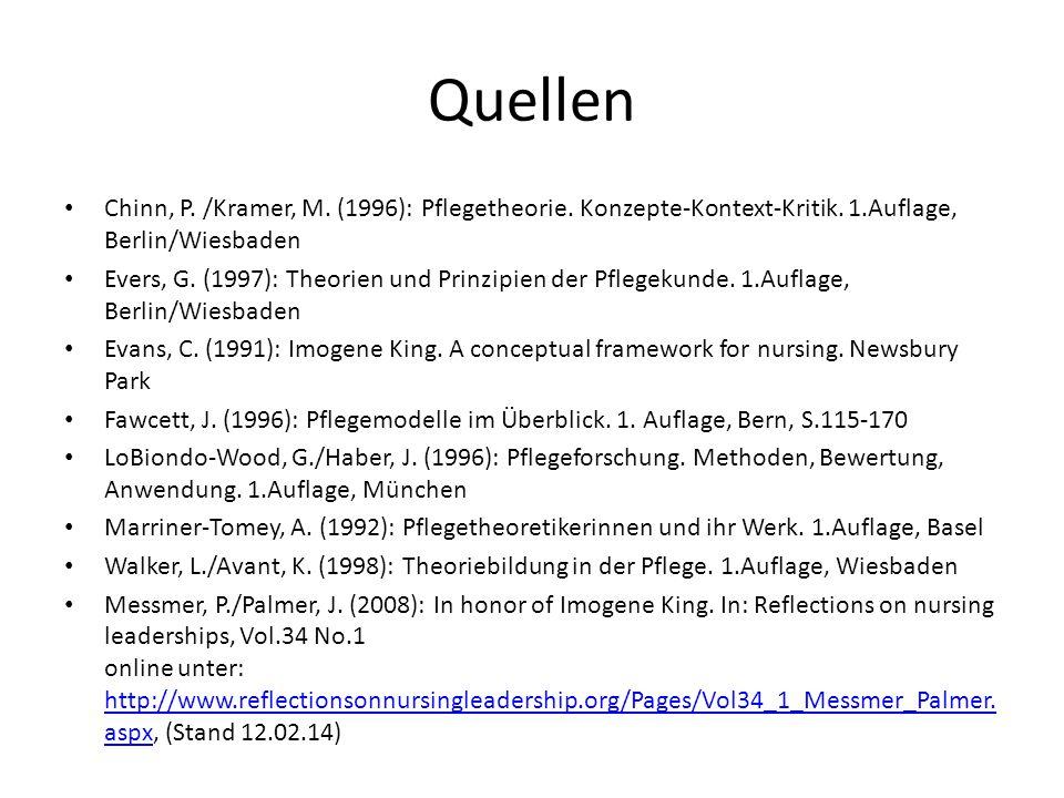 Quellen Chinn, P. /Kramer, M. (1996): Pflegetheorie. Konzepte-Kontext-Kritik. 1.Auflage, Berlin/Wiesbaden.