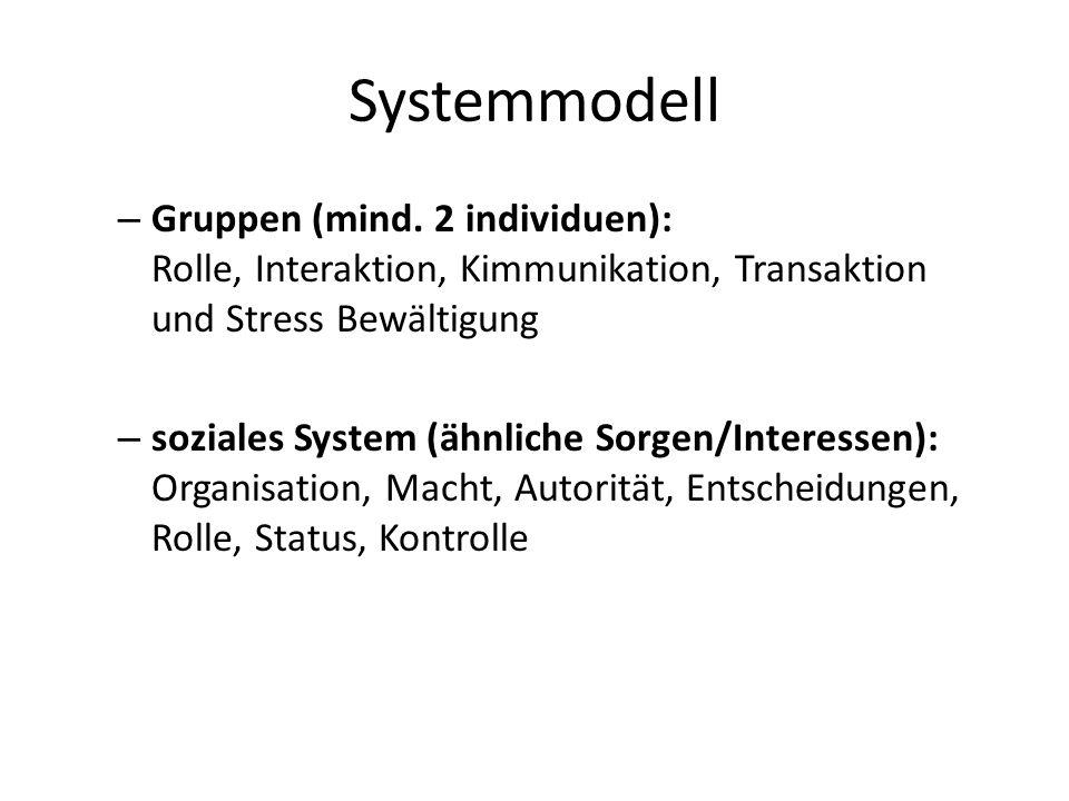 Systemmodell Gruppen (mind. 2 individuen): Rolle, Interaktion, Kimmunikation, Transaktion und Stress Bewältigung.