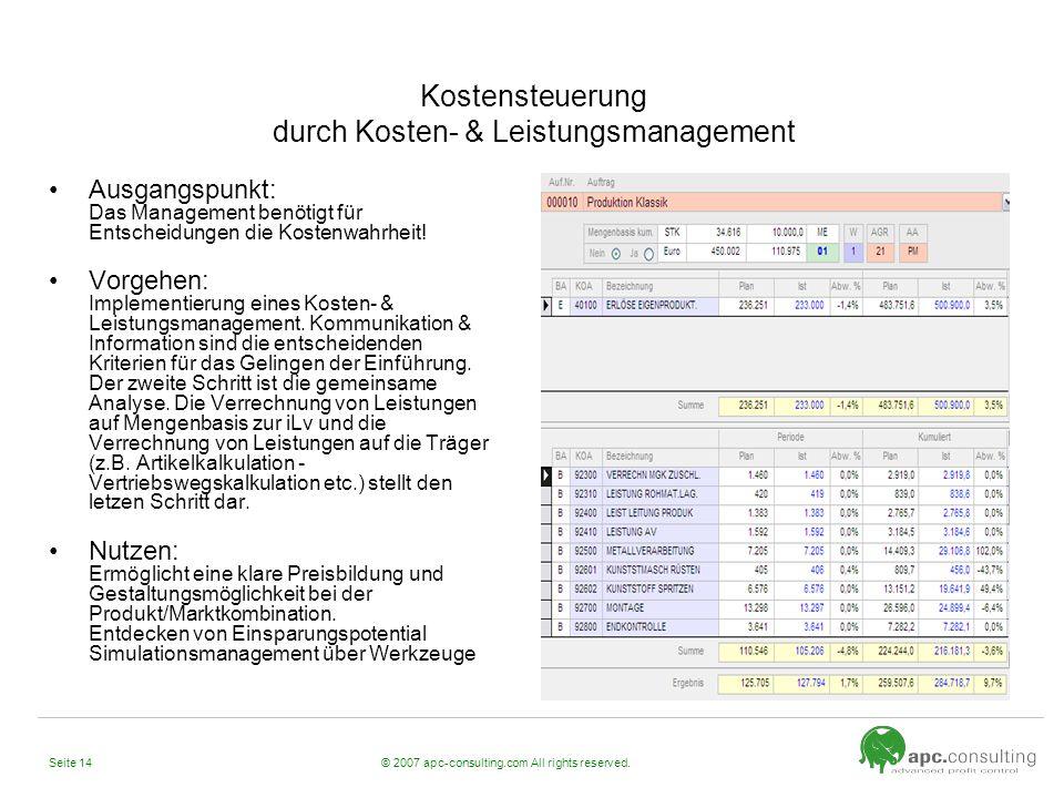 Kostensteuerung durch Kosten- & Leistungsmanagement