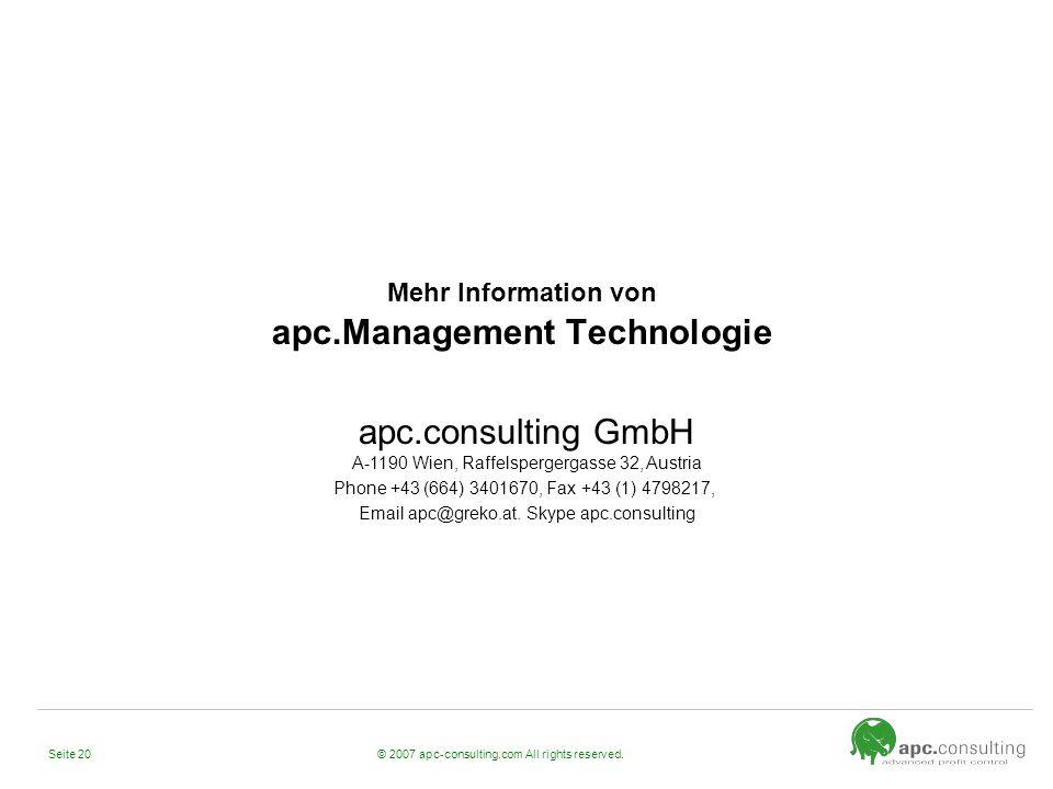 Mehr Information von apc.Management Technologie