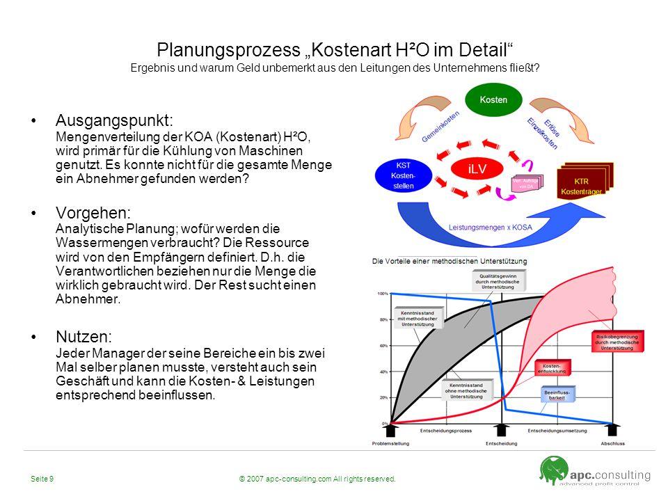 """Planungsprozess """"Kostenart H²O im Detail Ergebnis und warum Geld unbemerkt aus den Leitungen des Unternehmens fließt"""