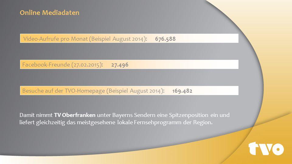 Online Mediadaten Video-Aufrufe pro Monat (Beispiel August 2014): 676.588. Facebook-Freunde (27.02.2015): 27.496.
