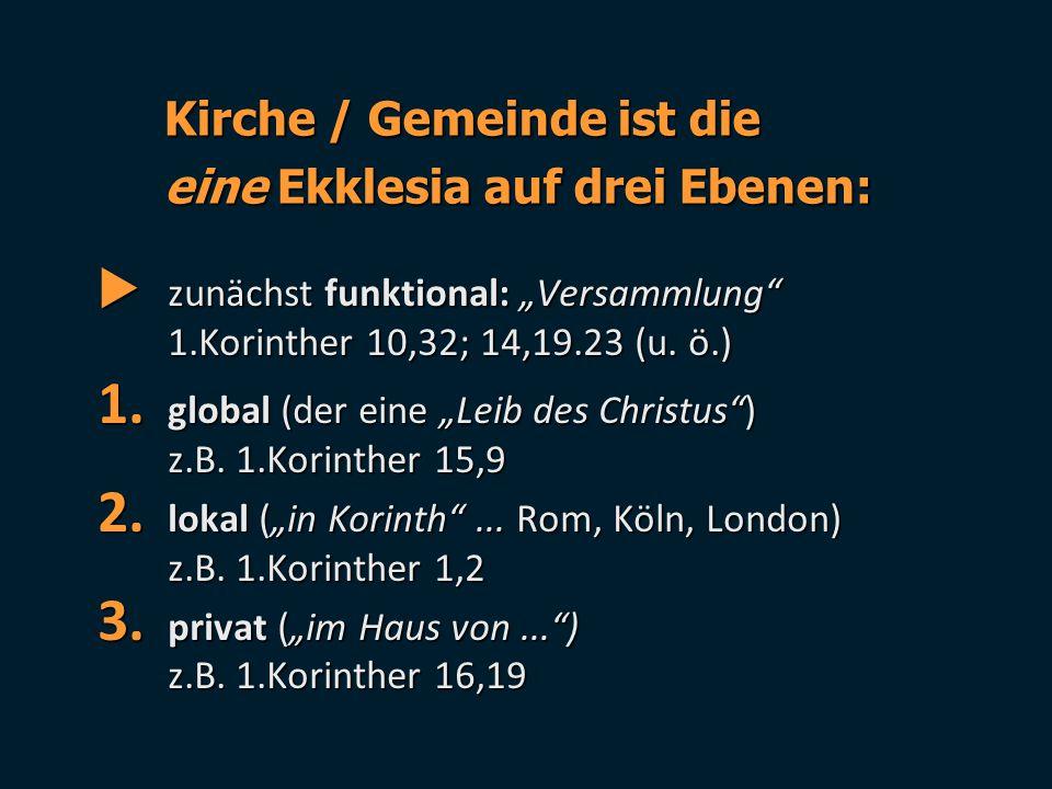Kirche / Gemeinde ist die eine Ekklesia auf drei Ebenen: