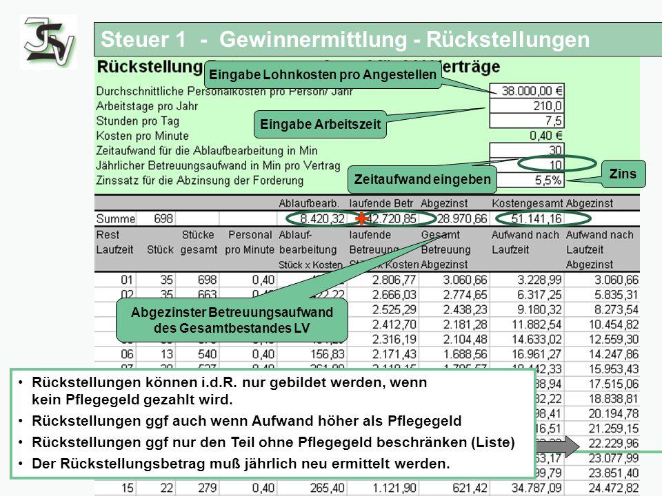 + Steuer 1 - Gewinnermittlung - Rückstellungen