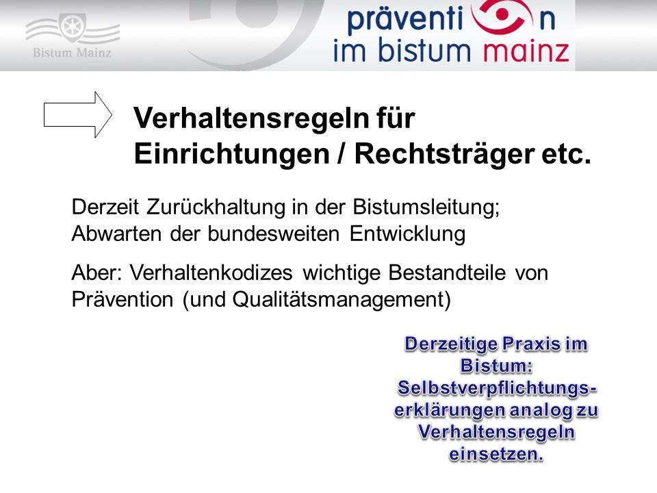 Verhaltensregeln für Einrichtungen / Rechtsträger etc.