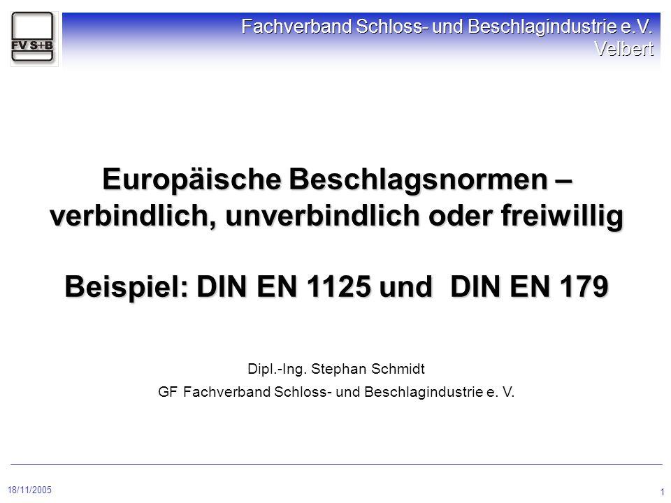 Europäische Beschlagsnormen – verbindlich, unverbindlich oder freiwillig Beispiel: DIN EN 1125 und DIN EN 179