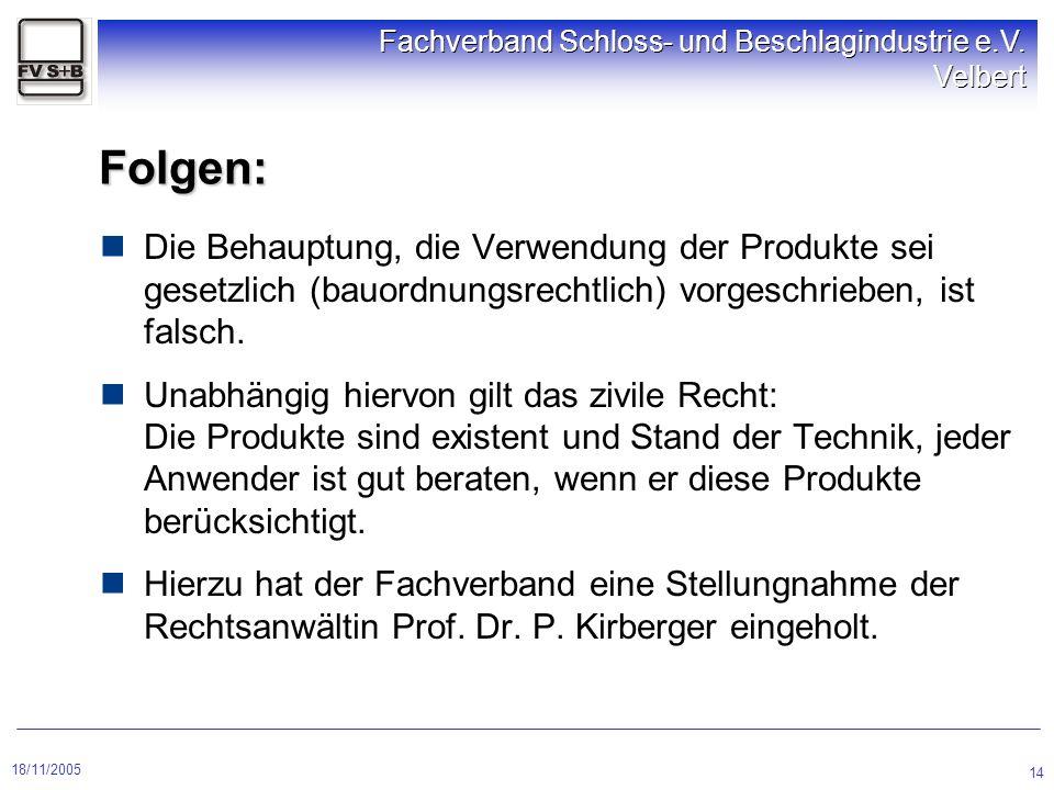 Folgen: Die Behauptung, die Verwendung der Produkte sei gesetzlich (bauordnungsrechtlich) vorgeschrieben, ist falsch.