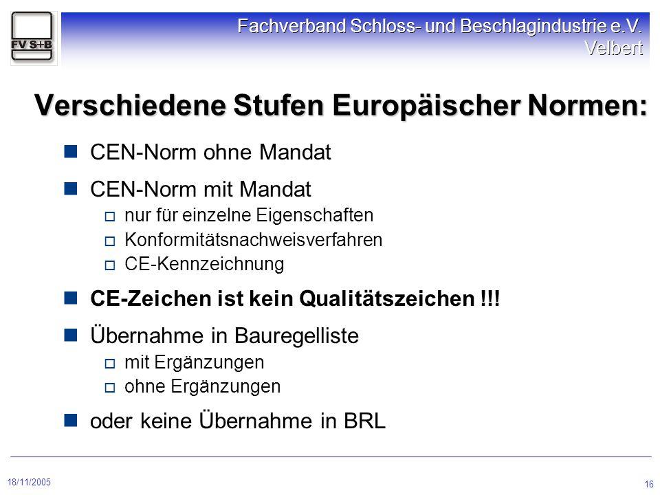 Verschiedene Stufen Europäischer Normen: