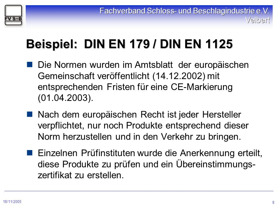 Beispiel: DIN EN 179 / DIN EN 1125