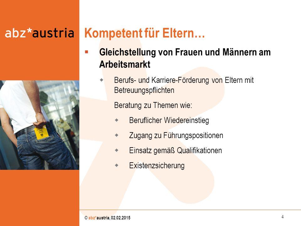 Kompetent für Eltern… Gleichstellung von Frauen und Männern am Arbeitsmarkt. Berufs- und Karriere-Förderung von Eltern mit Betreuungspflichten.