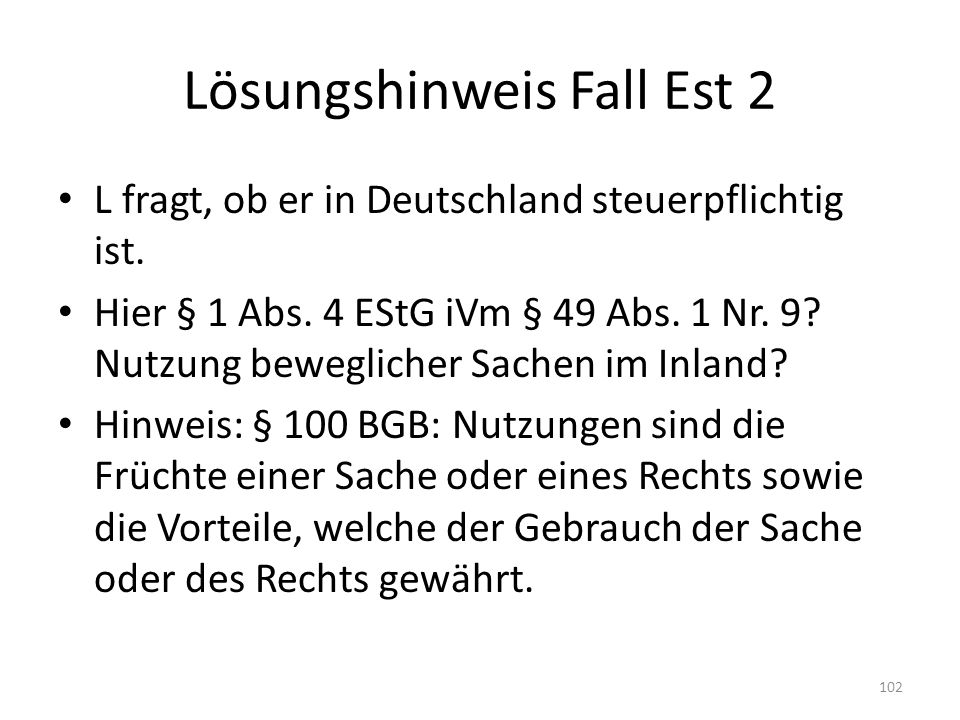 Lösungshinweis Fall Est 2